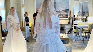 Sophie Turner turns a perfect bride in a custom Louis Vuitton gown