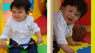 Unseen pics from Taimur's first birthday: Taimur plays in a toy tent, flashes hearty smile
