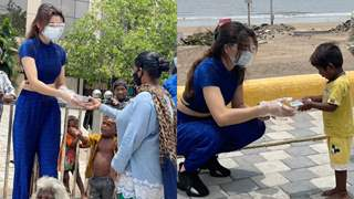 Urvashi Rautela distributes food amongst the needy affected by the cyclone Tauktae; see pic!