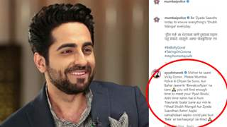 Ayushmann's reply to Mumbai Police using his films to spread Covid-19 awareness wins internet; see reactions!