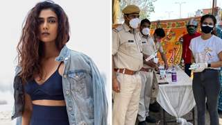 Pics: Aakanksha Singh offers buttermilk and water to cops on Covid duty in Jaipur