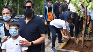 Photos: Ajay Devgn and son Yug step out for a tree plantation drive in the town!