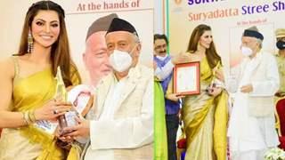 Urvashi Rautela awarded with 'Stree Shakti National Award 2021' by  Governor Of Maharashtra at Rajbhavan