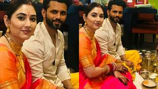 Disha Parmar and Rahul Vaidya are all smiles as they perform a 'pooja' as married couple