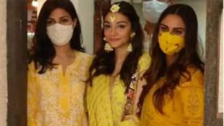 Rhea Chakraborty makes an appearance attending Rumi Jaffrey's daughter Alfia's mehendi ceremony