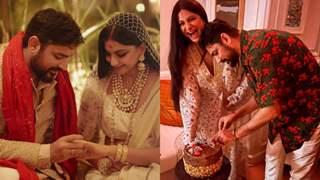Inside Rhea Kapoor and Karan Boolani wedding reception: Newlyweds cut a cake ahead of their journey!
