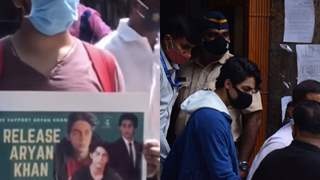 Outside the courthouse, fans show their support for Shah Rukh Khan's son Aryan Khan ahead of his bail hearing