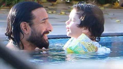 Taimur Ali Khan on a swim spree with daddy Saif