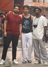 Producer Jackky Bhagnani, Tiger Shroff and Remo Dsouza snapped outside SJ Studio, Andheri
