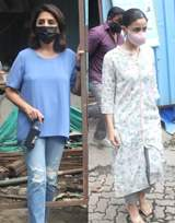Alia Bhatt and Neetu Kapoor snapped at Krishnaraj Bungalow