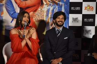 Sonam Kapoor and Dulquer Salmaan at the trailer launch of The Zoya Factor!