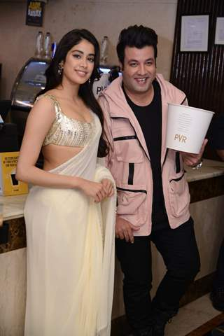 Janhvi Kapoor and Varun Sharma at the promotions of Roohi in Delhi