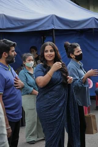 Vidya Balan snapped at a shoot in Filmcity