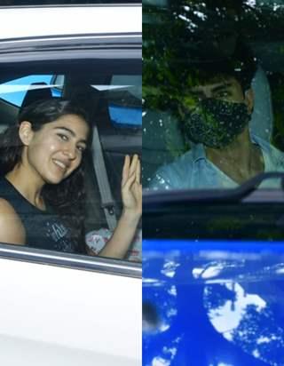 Sara Ali Khan and Ibrahim Ali Khan spotted at Saif Ali khan's house