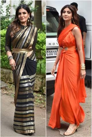 Raveena Tandon and Shilpa Shetty on the sets of Super Dancer