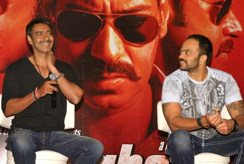 "Ajay and Rohit Shetty at press meet to promote their film ""Singham"", in New Delhi"