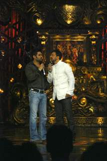 Sunil Shetty and Javed Jaffrey on the sets of Comedy Circus at Mohan studios