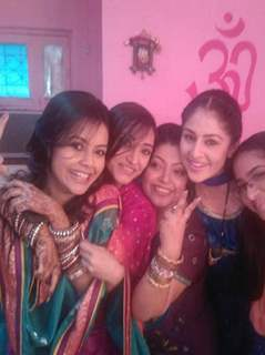 Preeto on sets with cast