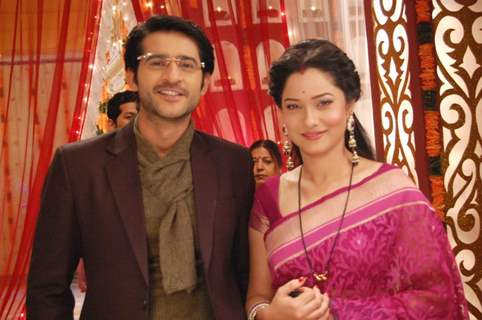 Ankita Lokhande And Hiten Tejwani On The Sets Of Pavitra Rishta