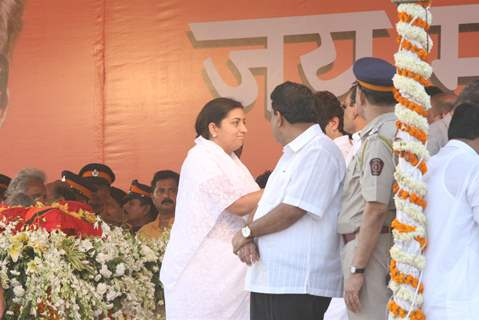BJP member Smriti Irani at funeral of Shiv Sena Supreme Balasaheb Thackeray at Shivaji Park