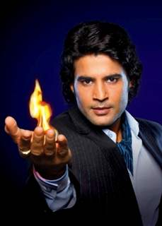 Rajeev with fire in hand promoting Sach Ka Saamna