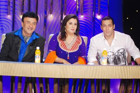 Farah Khan and Anu Malik with Salman Khan