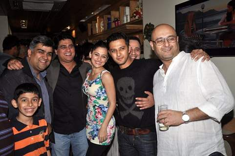 Sanjeeda, Ayub Khan and Vatsal Sheth with friends at the 100 Episodes Completion Party