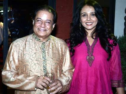 Anup Jalota with Suchitra Krishnamurthy at his Diwali Party cum Gazal Album Launch
