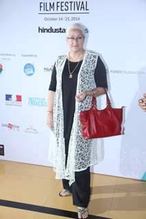 Nafisa Ali poses for the media at the 16th MAMI Film Festival Day 7