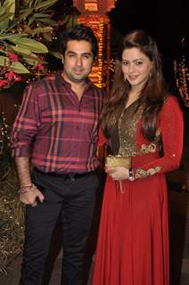 Aamna Shariff with husband at Sachin Joshi's Diwali Bash