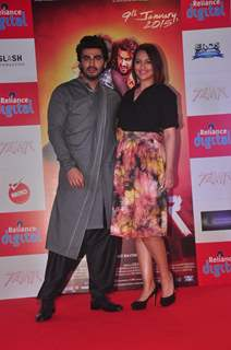 Arjun Kapoor and Sonakshi Sinha pose for the media at the Promotions of Tevar