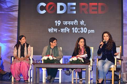 Tisca Chopra interacts with the audience during the Code Red Panel Discussion