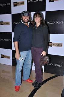 Ayub Khan was seen with his wife at the Premiere of Foxcatcher