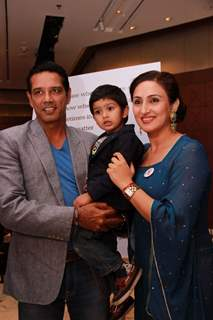 Juhi Babbar and Anup Soni pose for the media at Arya Babbar's Book Launch