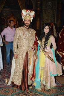 Sooraj Thapar and Pankhuri Awasthy pose for the media at the Launch of Razia Sultan