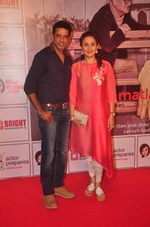 Anup Soni and Juhi Babbar pose for the media at the Premier of the Play Mera Woh Matlab Nahi Tha
