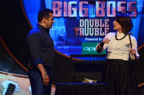 Salman Khan with Urvashi Dholakia at the Launch of Bigg Boss Nau