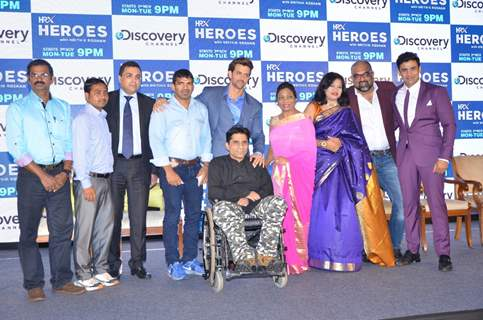 Hrithik Roshan and Sangram Singh at Launch of Discovery's New Show 'HRX Heroes'