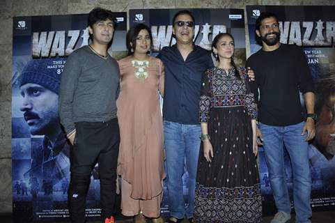 Sonu Niigam, Shreya, Vidhu Vinod, Aditi Rao and Farhan at Promotions of 'Wazir'