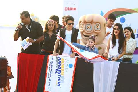 Darsheel Safary, Avneet Kaur and Harshaali Malhotra at Mumbai Juniorthon