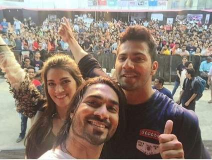 Varun Dhawan, Kriti Sanon and Salman Yusuf Khan atPromotions of Dilwale