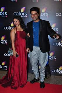 Shakti Anand with wife Sai Deodhar Colors TV's Red Carpet Event