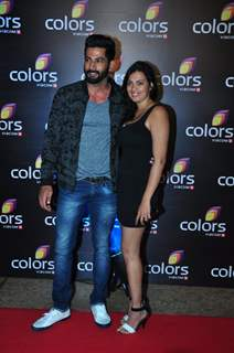 Vivan Bathena with Wife at Colors TV's Red Carpet Event