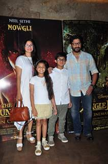 Arshad Warsi with wife VJ Maria Goretti and children at Special Screening of 'The Jungle Book'