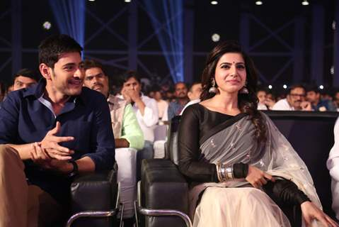 Mahesh Babu and Samantha Ruth at Trailer Launch of the film 'Brahmotsavam'