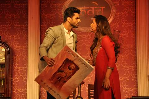 Vivek Dahiya and Mona Singh during Launch of Colors TV's New Show 'Kavach'.