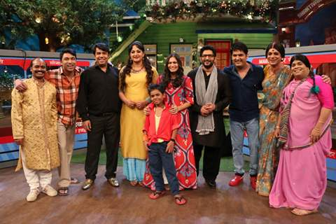 Arshad and Maria with Kapil Sharma and cast on the sets of Kapil Sharma