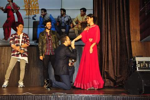 Ali Fazal, Jimmy Shergill, Mika Singh and Diana Penty at Launch of 'Happy Bhag Jayegi'