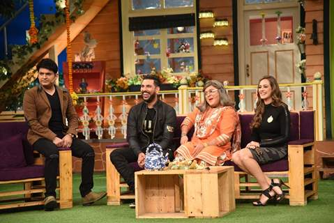 Yuvraj Singh and Hazel Keech visit on sets of 'The Kapil Sharma Show'