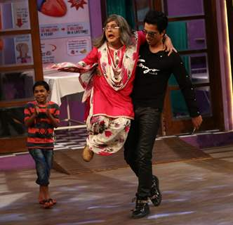 Sonu Sood and Ali Asgar at Promotion of 'Tutak Tutak Tutiya' on sets of The Kapil Sharma Show